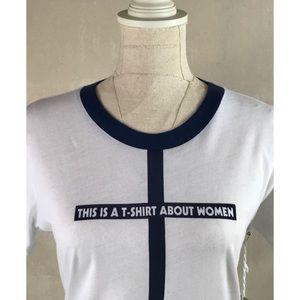 NWT Madewell White & Blue Feminist Ringer Tee Sz M
